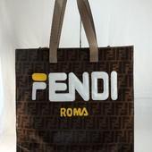 Эксклюзив сумка шоппер Fendi, премиум качество, коричневая.
