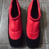 Спортивные мокасины, кроссовки для бега. Черно красные, текстиль, нубук. 26 см