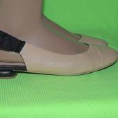 Красивые кожаные туфли балетки с открытой пяткой 24,5 см