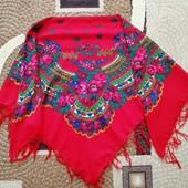 Украинский народный шерстяной платок.125*125