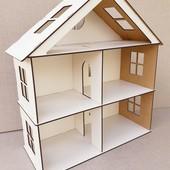 Большой кукольный дом из двп 46см на 41 см для Лол или других кукол до 12 см