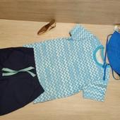 Распродажа!!! Симпатичный сборный комплект! Коттоновая футболка и Панама 98/104 и Бермуды 98!