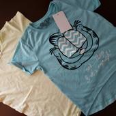 Две хлопковые фирменные футболки одним лотом, размер 122/128