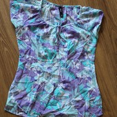 футболка из натуральной ткани на лето, красивая расцветка, универсальная