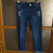 Стоп! ❤Супер стильные джинсы с отворотами,с ромашками❤Собирайте лоты,экономьте на доставке