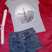 Крутой фирменный комплект из джинсов и футболки на девочку 8-10 лет