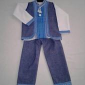 Костюм 3-ка: брюки, вышиванка, жилетка