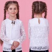 Крутая трикотажная блуза с длинным рукавом в школу Zironka 128, 134