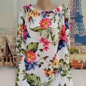 Шикарная блуза свободного кроя в цветочный принт, F&F, размер XL.