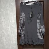 Фирменная новая вискозная трикотажная туника-платье р.16-18