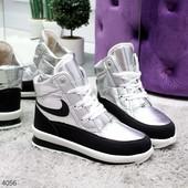 Теплые, удобные, красивые ! Зимние ботинки цвет серебро !