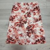 Фирменная новая красивая юбка на пуговицах р.16-18 лён+вискоза