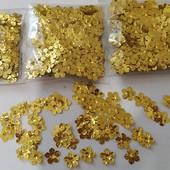 Цветочки золото пришивные 300шт