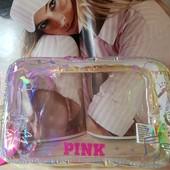 Большая прозрачная, неоновая косметичка pink Victoria's secret, 100 % оригинал!