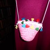 Розовая сумочка соломка, ключница