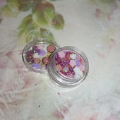 Набор декора для ногтей в розово-фиолетовых тонах