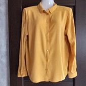 Фирменная красивая блуза-рубашка из вискозной ткани-жатки р.16-18