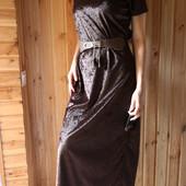 Бархатное платье в пол с поясом
