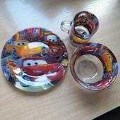 Детская стеклянная посуда Тачки можно использовать в микроволновку