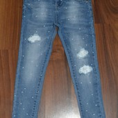 •●❤●•Стильные,стрейчевые, джинсовые брючки для девочек р.4 большемерят