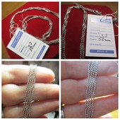 Серебряная изящная цепочка- плетение Сингапур-алмаз. грань вес. 3,7 длина 50 см. Новая с биркой!