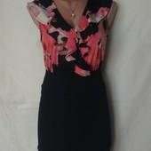 Комбинированное платье:тонкий трикотаж+более плотный трикотаж,s/m