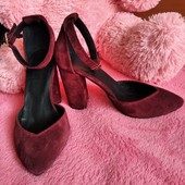Босоножки натуральная замша, каблук 9см, цвет бордо. Полномерные, 35р 23см. стелька.