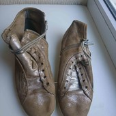 песочные с серебром нат. нубук кроссовки ботинки стелька 24. 5см