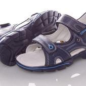 Кожанные сандалии Clibee F276-blue Синий 31-33рр