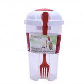 Пластиковый контейнер стакан для салата с вилкой и маленьким контейнером для соуса. Ernesto Германия