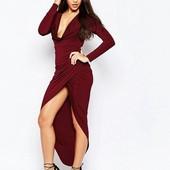 Качество!!! Вечернее ассиметричное платье от Asos burgundy