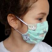 Детская маска защитная не медицинска в ассортименте 100% хлопок