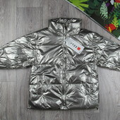 Серебряная куртка оверсайз для девочки. Осень-зима. 6-12лет.