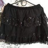 Фатиновая юбка с паетками 9-12 лет,можно в школу,сост.новой