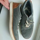 серые тканевые туфли по стельке 30-30.5см