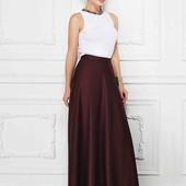 Атласная юбка макси в пол с переливом . размер 48, 50/52