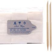 Салфетки безворсовые 200шт + Апельсиновые палочки 10см для маникюра 10шт