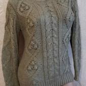 Качественный красивейший теплый свитер с косами!