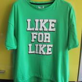ХИТ! футболка оверсайз Like от Рерсо! глиттер! в лоте зеленая! размер 158-164, на S!100%хлопок!