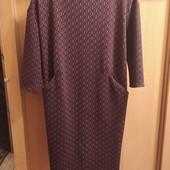 Платье трикотажное с карманами молния на спине