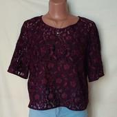 Очень красивая укороченная кружевная блузочка,в состоянии новой! 16р(2xl/3xl)