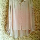 Распродажа блузок! 34-36р. Пудровая шифоновая блузка-рубашка Atmosphere