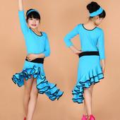 Платье для латино-американских танцев\цвет голубой\