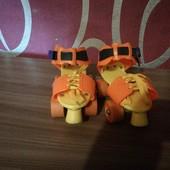 Ролики ярко - оранжевие с желтим