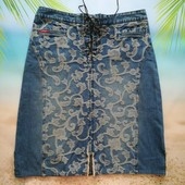 Брендовая классная джинсовая юбка, модная шнуровка