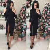 Новое платье с молнией, высокий воротник стойка, размер С(42)