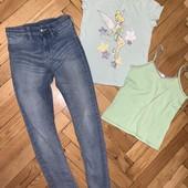 Узкие стрейч джинсы скинни голубые + футболка и майка в подарок! На 7-8 лет Замеры
