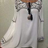 Шикарная нарядная нежная блуза рубаха вышиванка 100%вискоза р.22 Акция