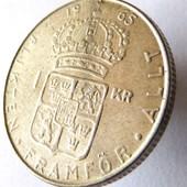монета Швеция 1 крона, 1965, серебро-7грамм!