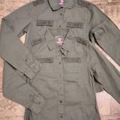 Оливковковые (хаки) рубашка однотонная Pepperts р.146
